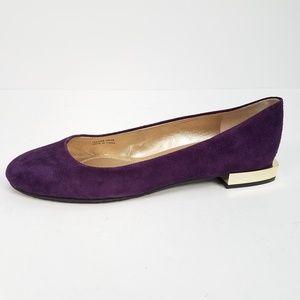 Tahari Ranma 7.5M Suede Round-Toe Flats Purple